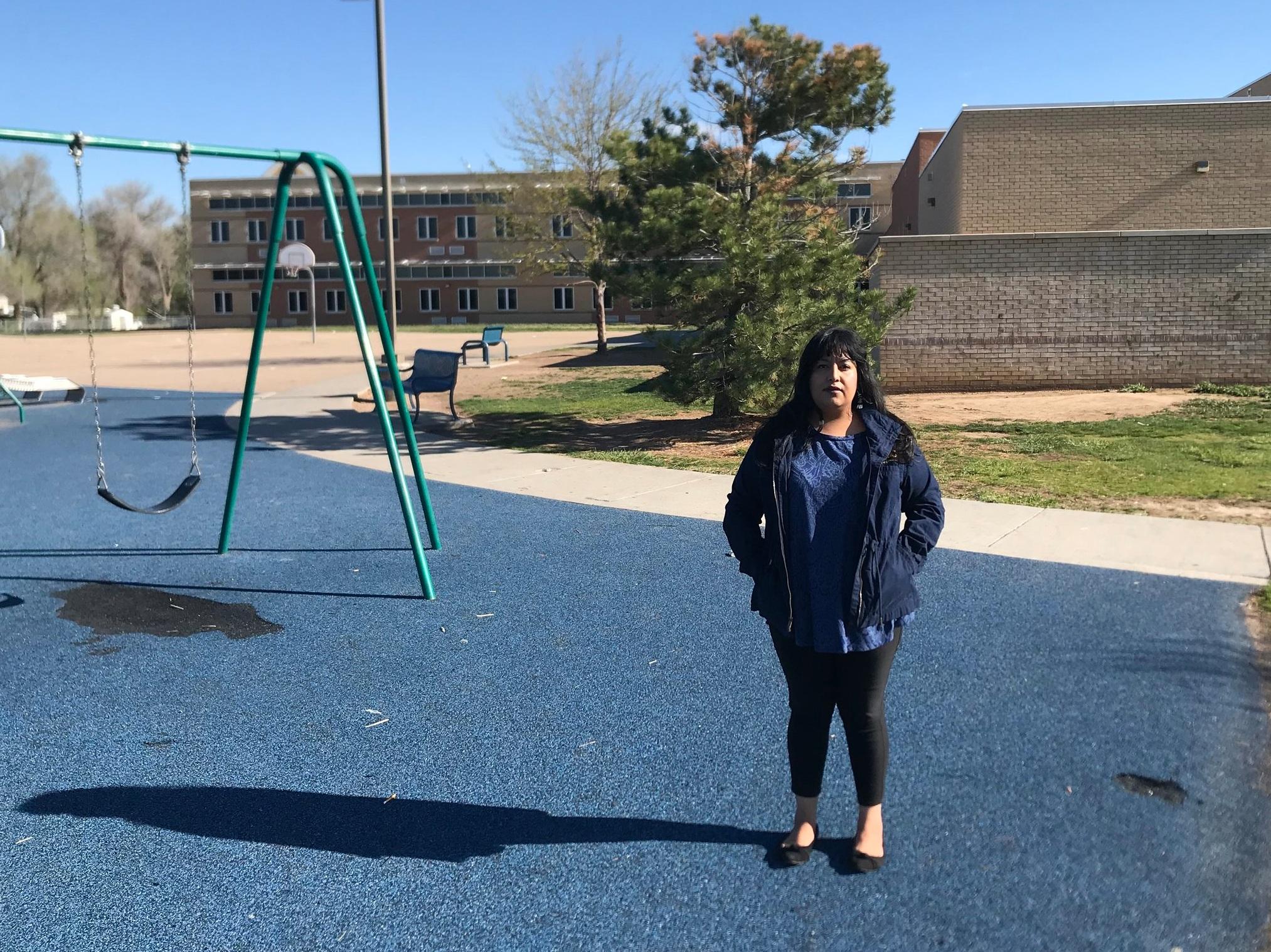 Patricia outside of her son's school, Bella Romero Academy ( Photo: Marisa Granados).