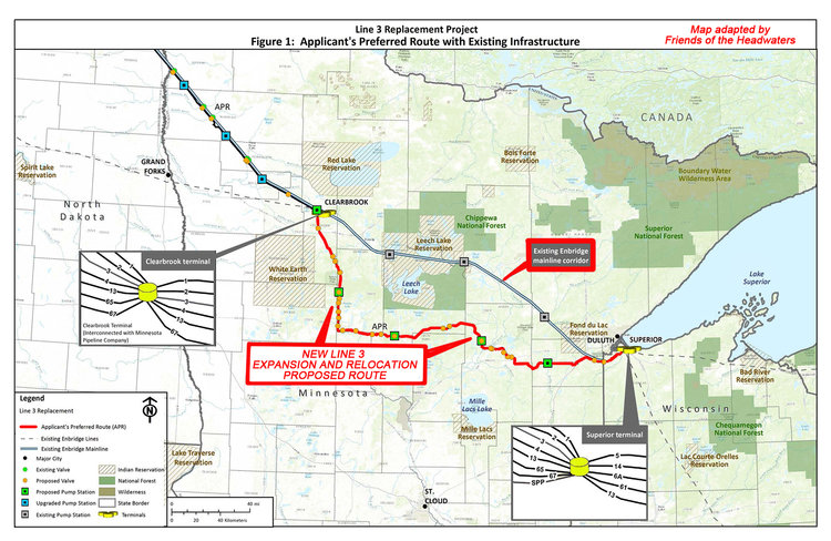 Map of the Line 3 Expansion and Relocation Proposed Route adapted by  Friends of the Headwaters .