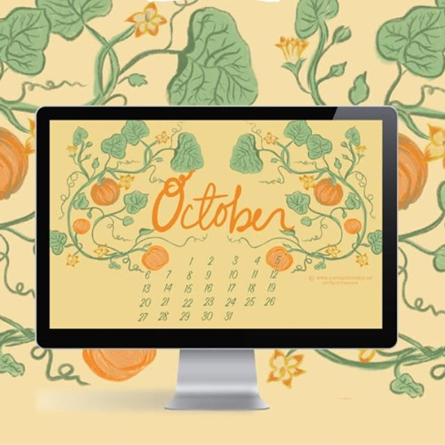 🎃 Pumpkin freebies are here! October calls for pumpkins, but I wanted to do something that felt like pumpkins on the front porch without hitting pumpkin overload! So I loved a antique botanical print of the pumpkin vine and it inspired me to illustrate this month's freebie. Obviously my favorite part is all the twirls and curls! Click the link on the bio to download it 👌😁
