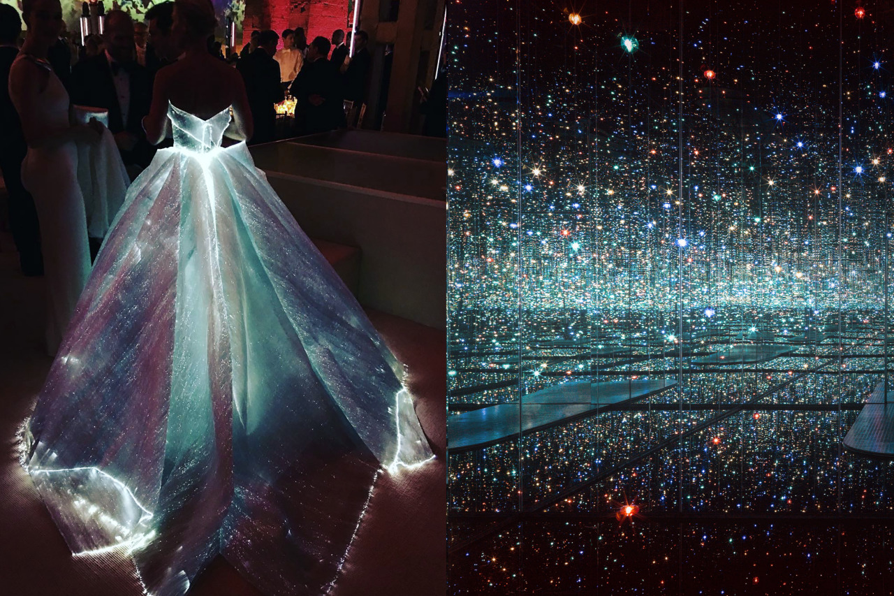 Match #336 Claire Danes in Zac Posen at the 2016 MET Gala | Infinity Mirrored Room - The Souls of Millions of Light Years Away by Yayoi Kusama, 2013