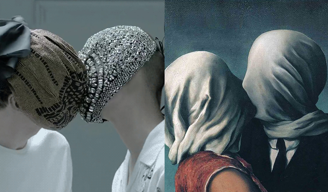 Match #343 Still from Primal Scream's 2013 music video by Show Studio | The lovers (detail) by René Magritte, 1928