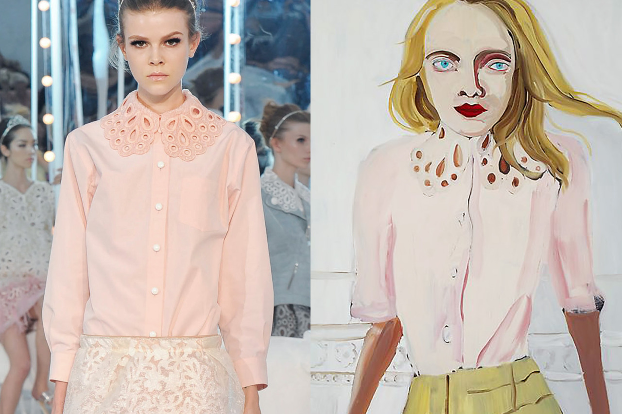 Match #325 Details at Louis Vuitton Spring 2012 | Blonde wearing a lace collar by Chantal Joffe, oil on board, 2012