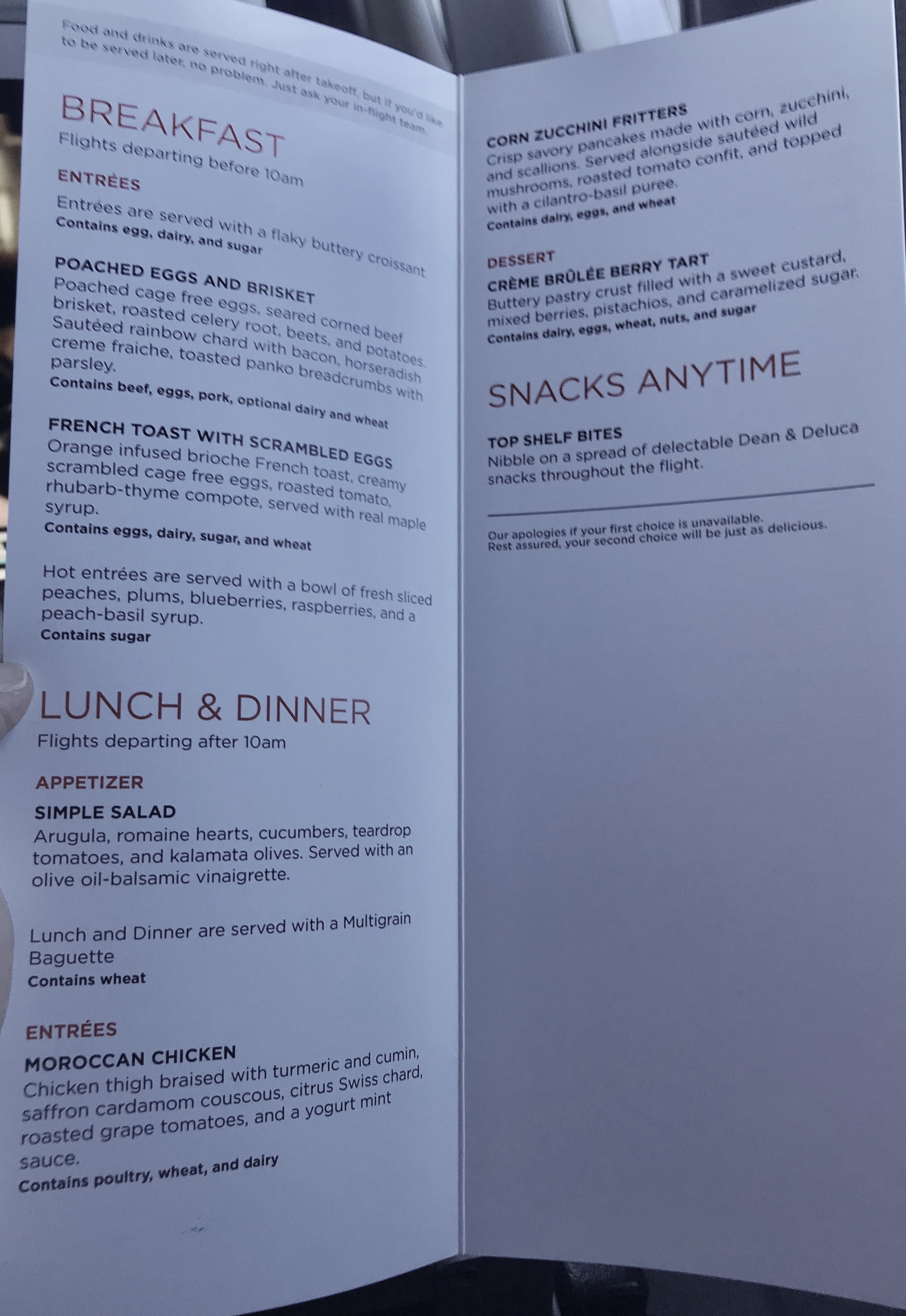 Virgin America in-flight First Class Menu