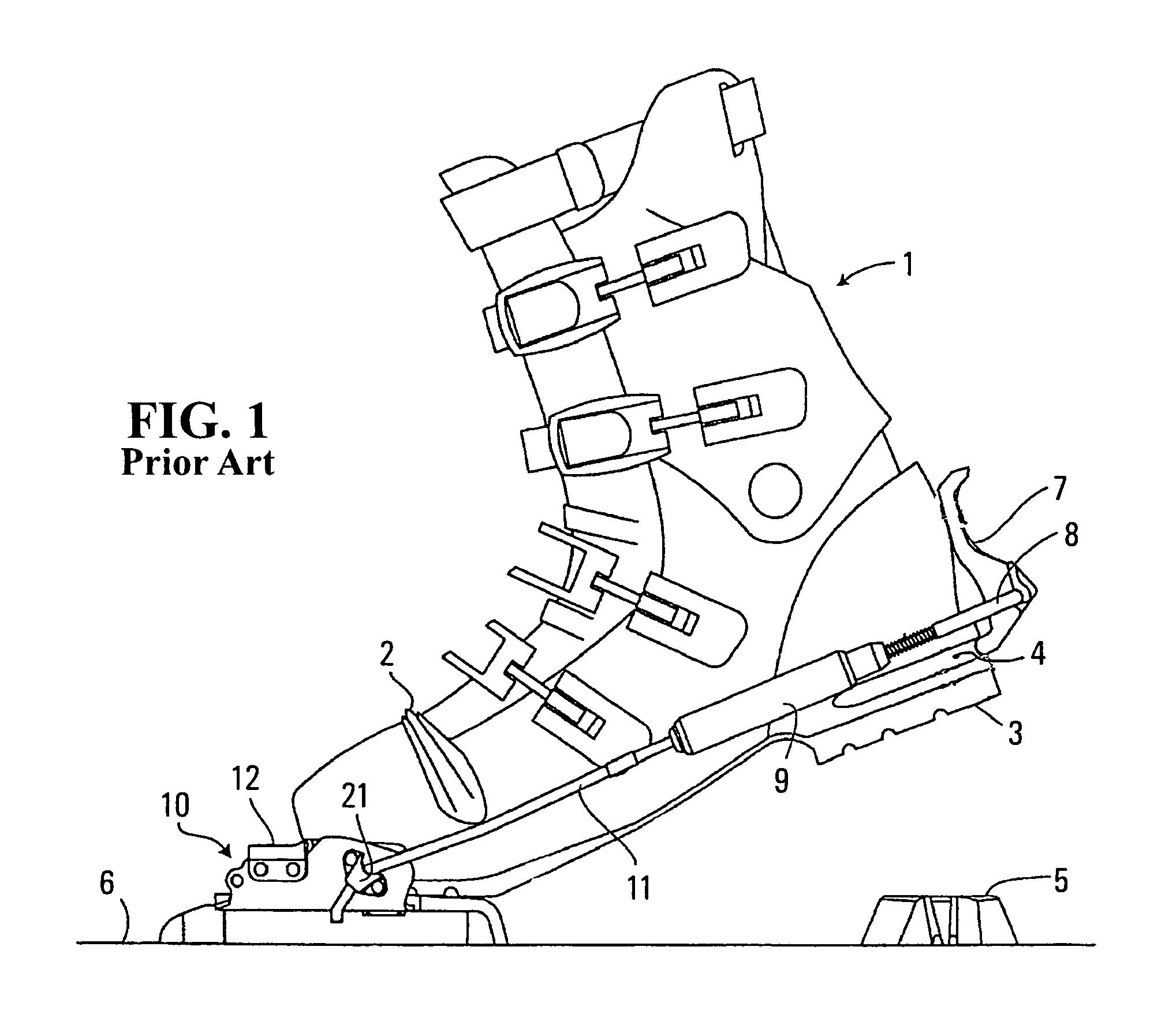 Pivoting telemark ski binding, ski crampon, and heel lifter.png