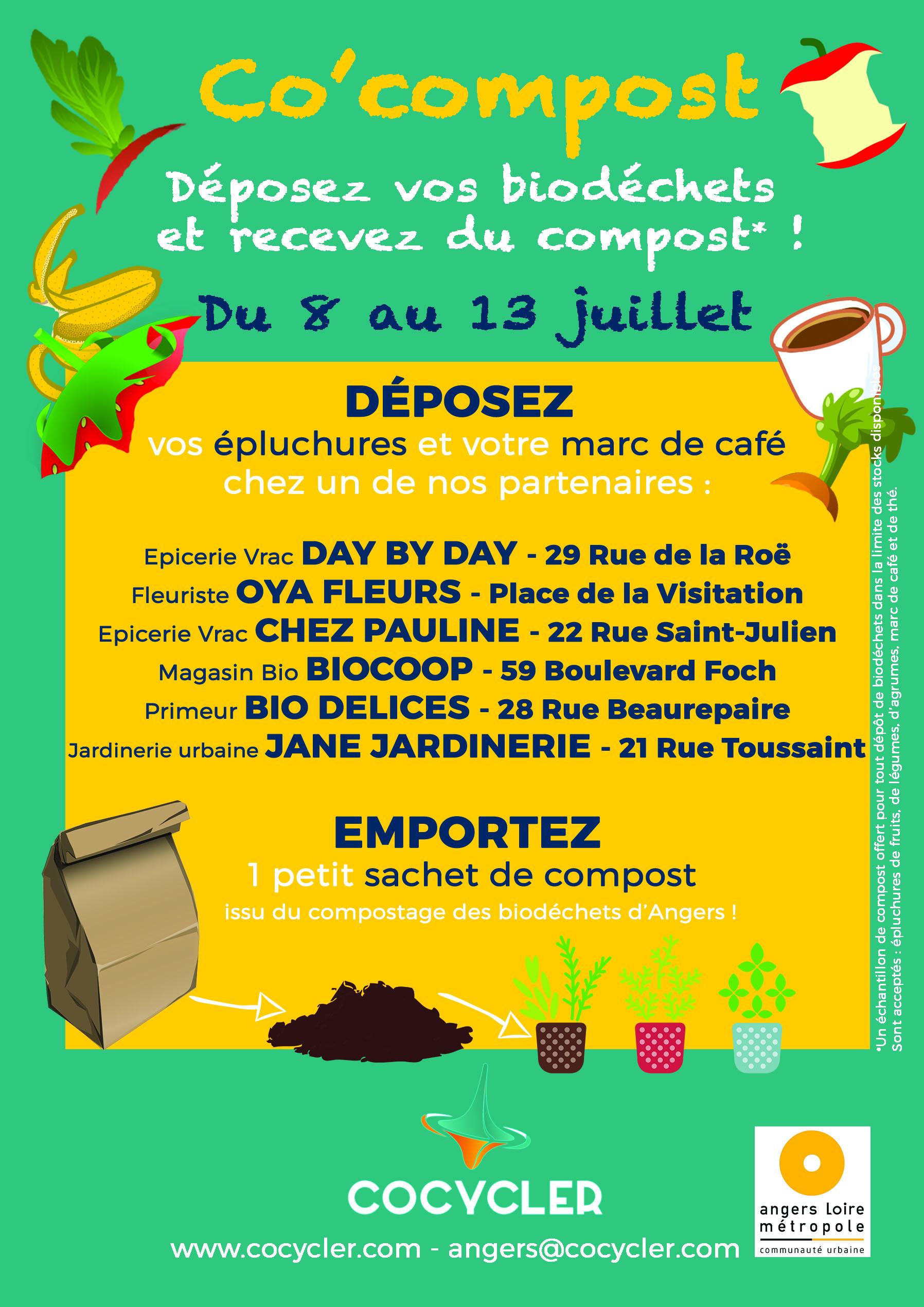 Co'compost II : 1 semaine6 lieux pour déposer ses biodéchets - Du 8 au 13 juillet, les angevins ont déposés leurs biodéchets (épluchures de fruits, de légumes, marc de café et de thé) chez nos commerçants partenaires :Jardinerie urbaine JANE JARDINERIE - 21 Rue ToussaintEpicerie Vrac DAY BY DAY - 29 Rue de la RoëEpicerie Vrac CHEZ PAULINE - 22 Rue Saint-JulienMagasin Bio BIOCOOP - 59 Boulevard FochPrimeur BIO DELICES - 28 Rue BeaurepaireFleuriste OYA FLEURS - Place de la VisitationTrier et déposer ses biodéchets c'est valoriser les déchets organiques en compost et leur éviter l'enfouissement ou l'incinération.Les biodéchets collectés en vélo ou en véhicule électrique par notre partenaire K'liveo sont ensuite compostés chez La Ferme du Clos Frémur !Expérimentons ensemble les solutions durables de gestion et de valorisation des déchets à Angers !Prochain RDV cet automne :)