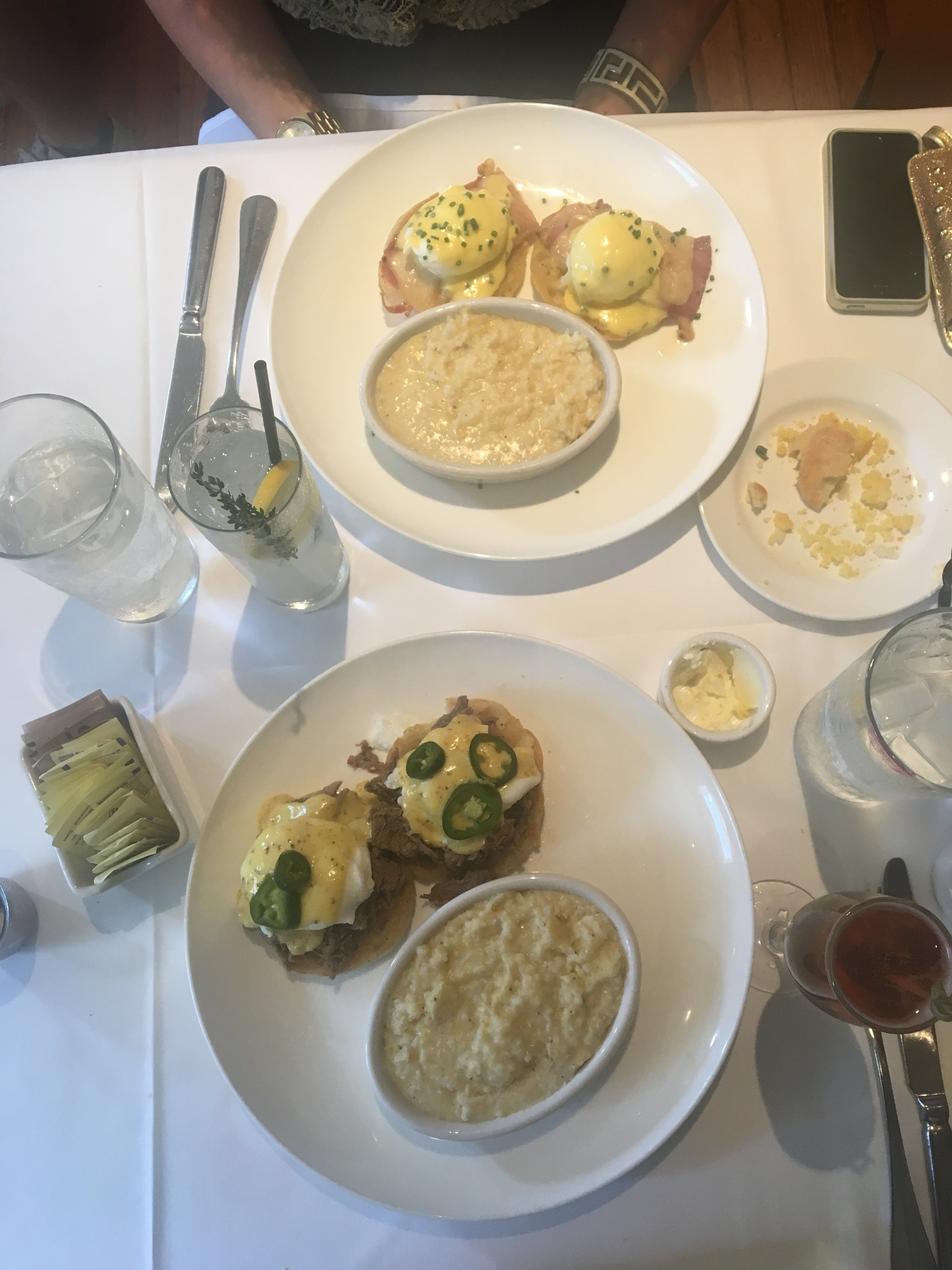 Brisket eggs benedict and some cheese grits ya'll!