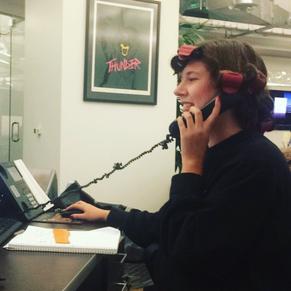 2015 ::The Towers Westwood :: At The Appointment Group office, hot curling my hair for the office holiday party while trying to find a hotel room for a VIP DJ during New Years Eve in Lake Tahoe