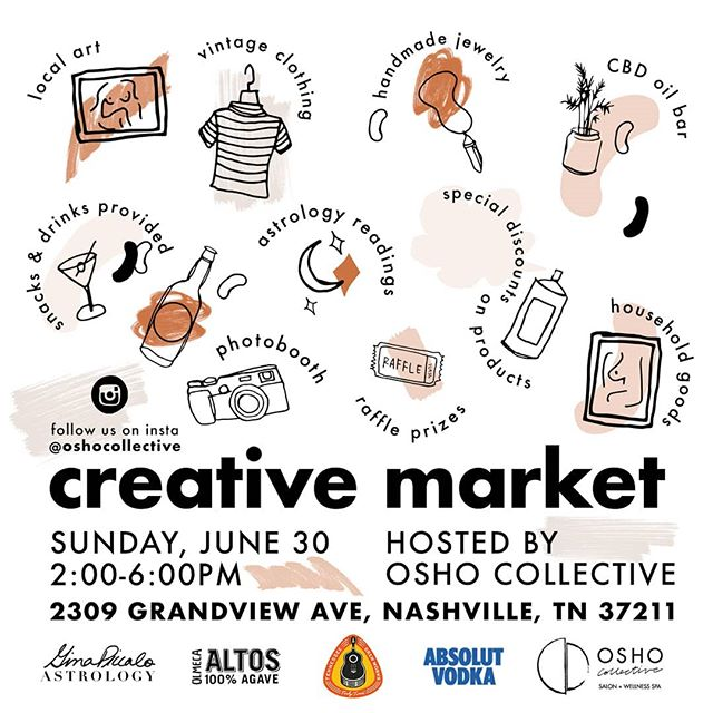 Join us for a Creative Market hosted by Osho Collective!  Happening Sunday, June 30th 2pm-6pm!  Osho is filledwith amazingly talented visual artists who bothcollect and make cool art.  Tony and I (Gabrielle) will be sellingsome of the art we have collected over the years, some of our othermembers will be selling theirhandmadejewelry/art, or vintage items they have collected over time. We will haveastrologyreadingsavailable by the verytalented Gina Piccalo,consolations by Ology for the power of CBD, and skinwiz guru Christina Gandy @wild_soul_ginger at your service.  One of our multi talented clients will be making art with herBEAUTIFULcharcuterie boards paired with some fancydrinks to relax and unwind while you muse.  Come share in a day of retailtherapy,inspirations, laughter, andbeautiful food + drinks.  We just wanted a reason to have you all into the space to chat + connect + and play.  See you all Sunday June 30th. Bring all your lovelyfriends and please share on your social medias. The more the merrier! #nashvilleevents #nashville_tn #nashvillecreatives #nashvillegram