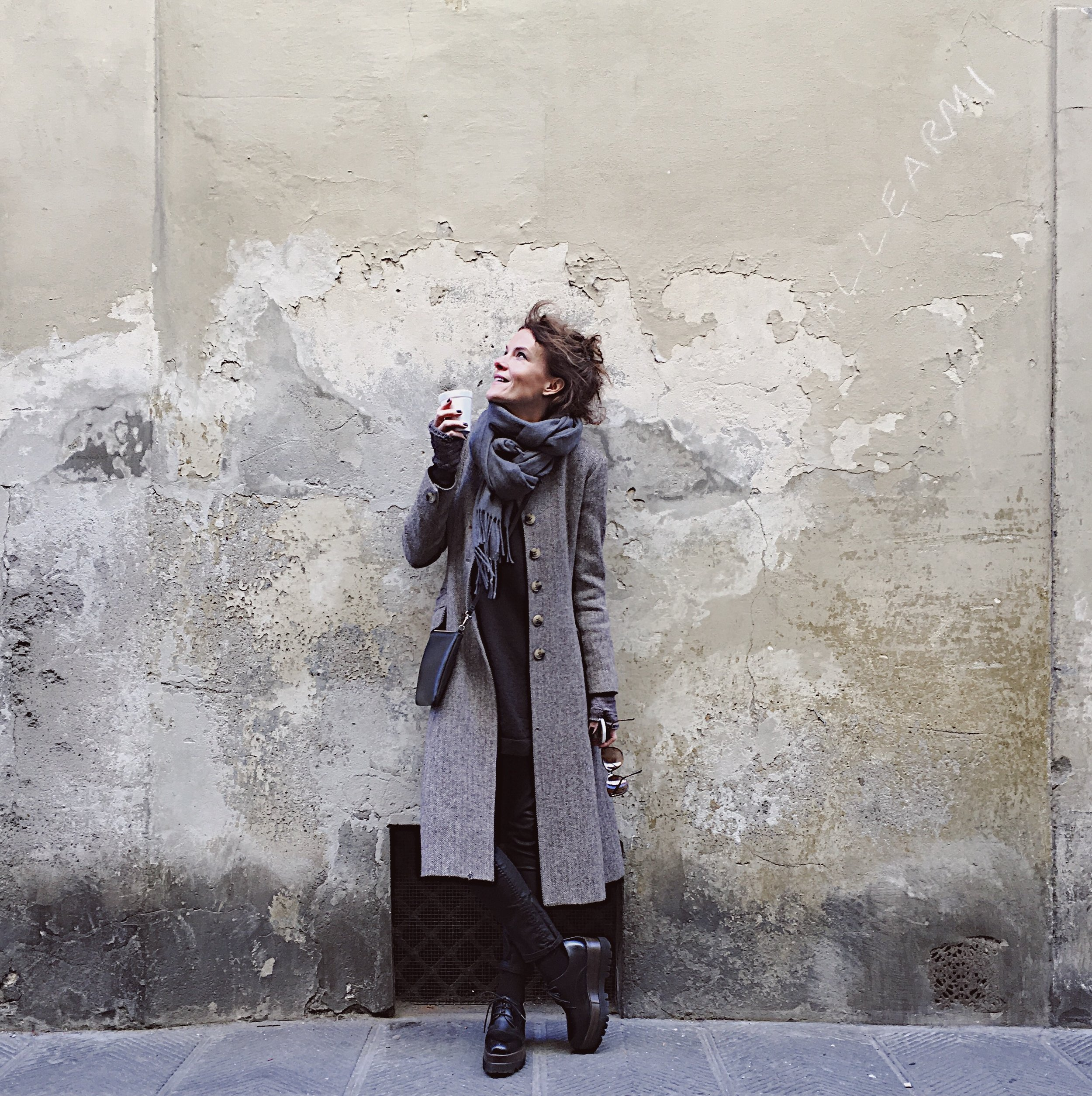 Coat by Toast, Shoes from an independent shop in Arezzo, Italy