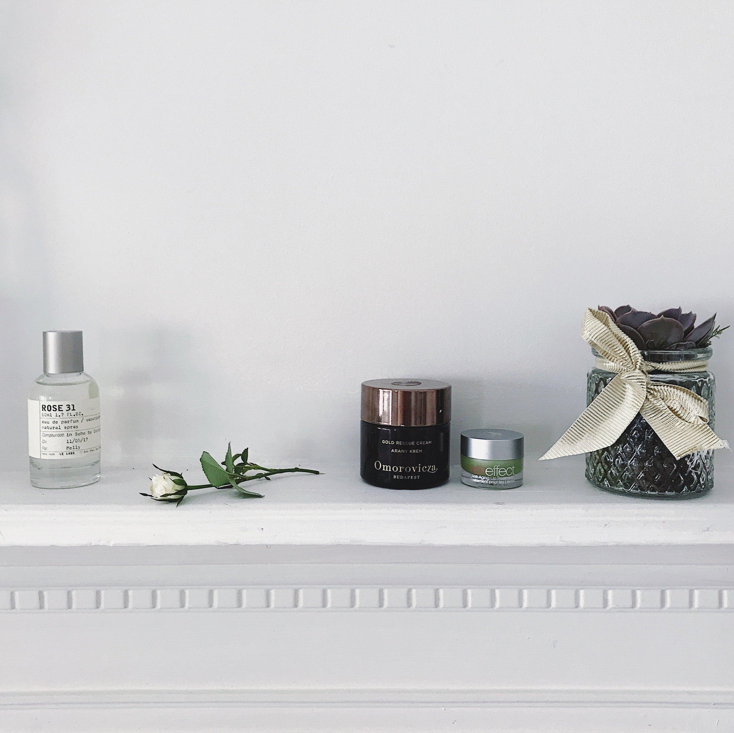Le Labo Fragrances, Rose 31. Omorovicza Gold Rescue Cream. Veneffect Lip Treatment