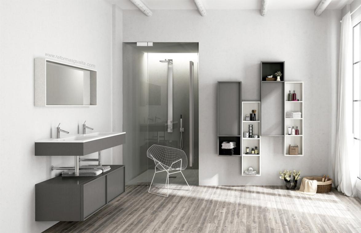 mueble de baño dos lavabos suspendido tarima bastidor sifon cromado visto roble antracita lacado ALTAIR.jpg