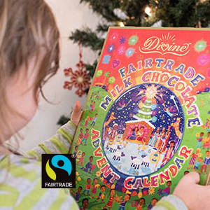 Divine Advent Calendar   A delectable holiday countdown! Each window reveals a portion of the Christmas story and yields a scrumptious milk chocolate heart. 5% of sales go towards empowerment initiatives for the women cocoa farmers of Kuapa Kokoo in Ghana