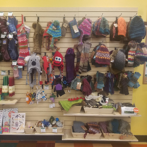 Assorted Winter Ware   Find a variety of socks, hats, scarves and mittens made my Andes Gifts, Maggie's Organics and Silk Road.