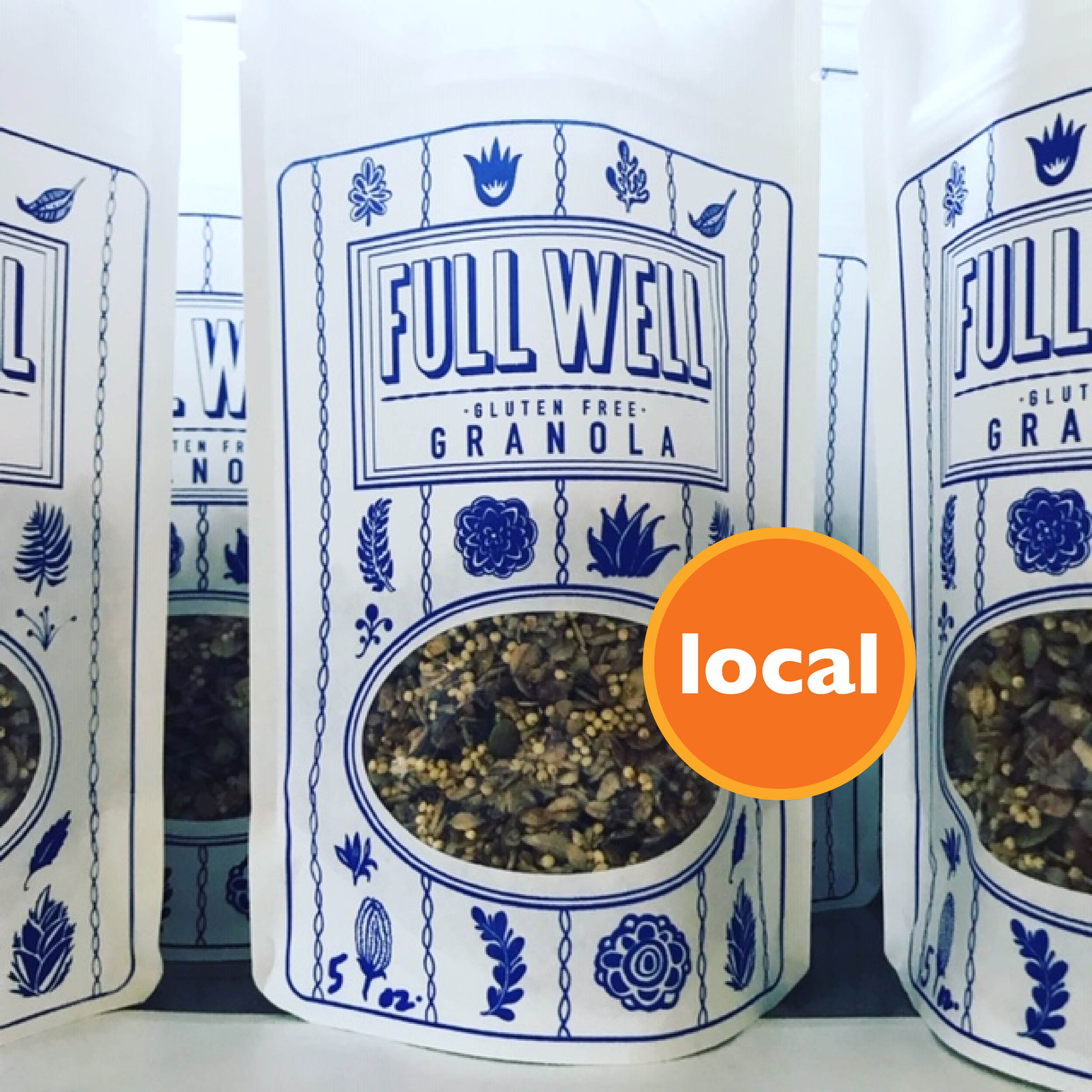 Longtime co-op owner, Kendra Marable, has made a name for herself as an artist, a business owner, and now, a local producer of gluten free granola. Each batch is handmade with care and the bags are screenprinted by Marable. Eat well. Feel well.  FULL WELL.