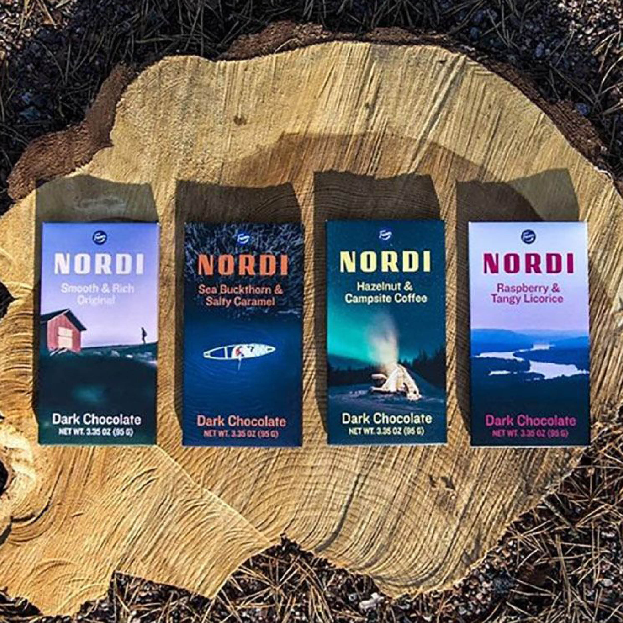 Nordi  is a love letter to the signature flavors of the wilderness and uniquely Nordic experiences. This approach to chocolate combines an appreciation for our environment and the meaningful production philosophy of Fazer. Nordi is made with Non-GMO ingredients and 100% sustainably sourced cacao.
