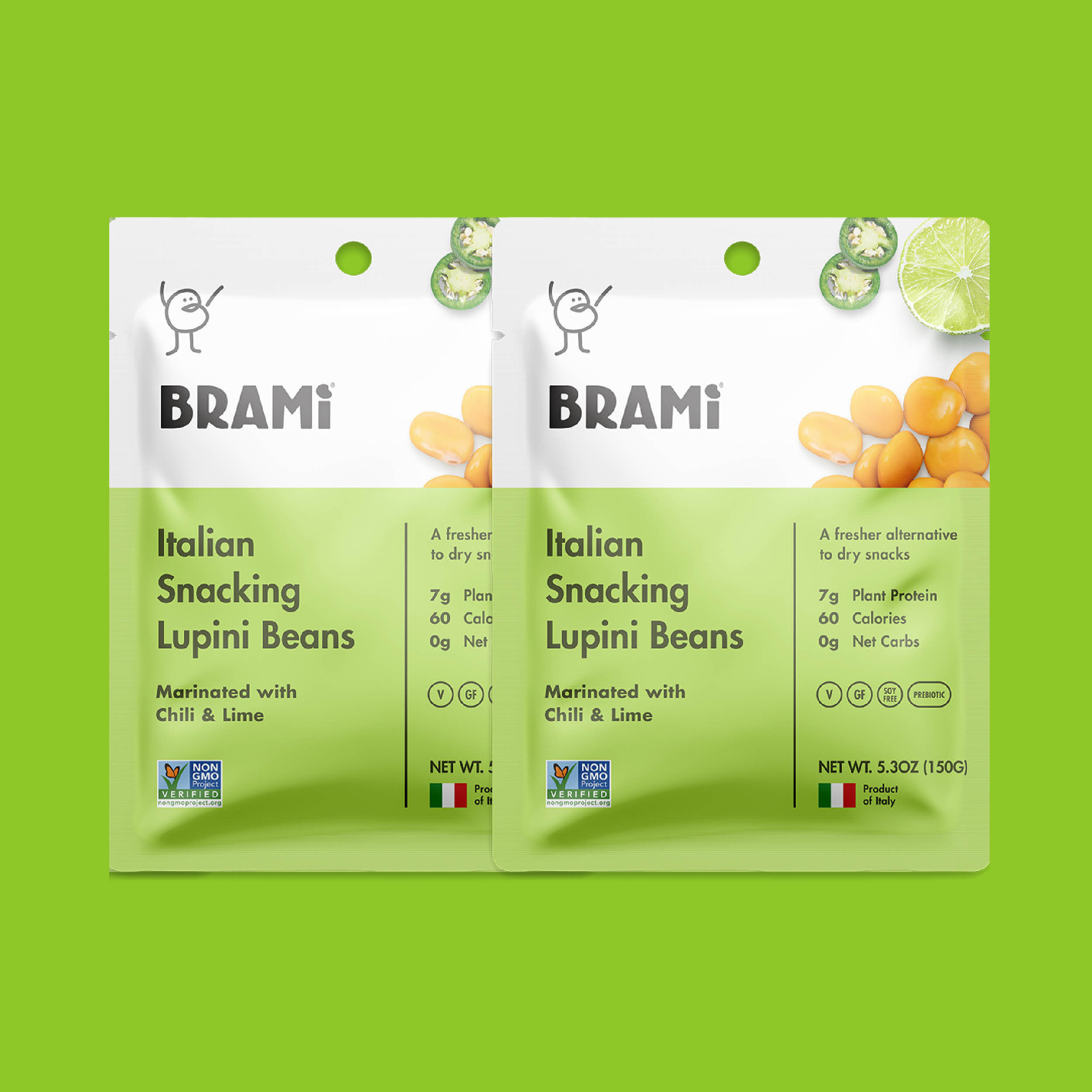 BRAMI Beans  are sprouted, marinated in savory seasonings, and packed fresh out of the barrel. Naturally high in plant protein, fiber and minerals and low in calories, fat, carbs and sugar, it is the perfect go-to snack. They have 50% more protein than eggs, 60% fewer carbs than chickpeas, 100% more fiber than edamame and 80% fewer calories than almonds.