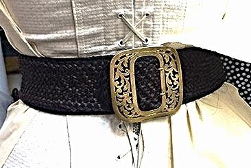 Hand woven belt. Syntetic hair.