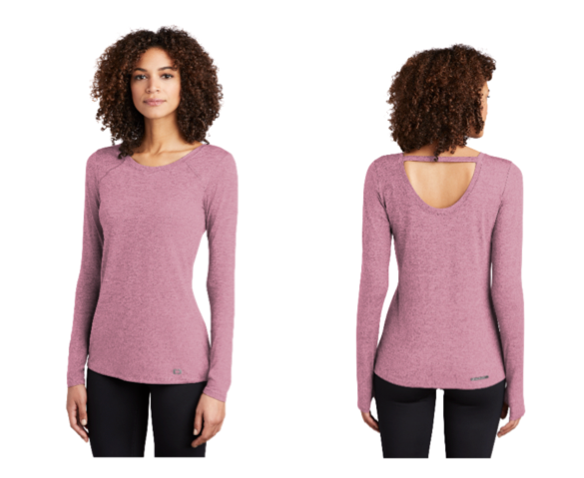 The OGIO Ladies Force Long Sleeve Tee retails for $29.99 plus decoration. Available sizes: XS-4XL