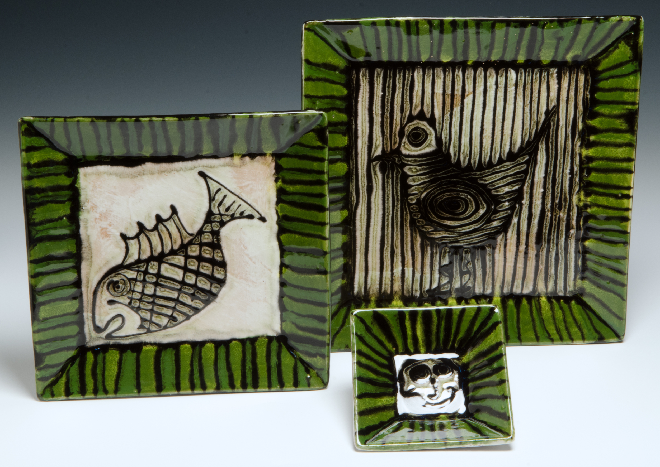 Square dinner plate, small plate, small square dish 2016, stoneware, slaip, stain, glaze 9.5x9.5