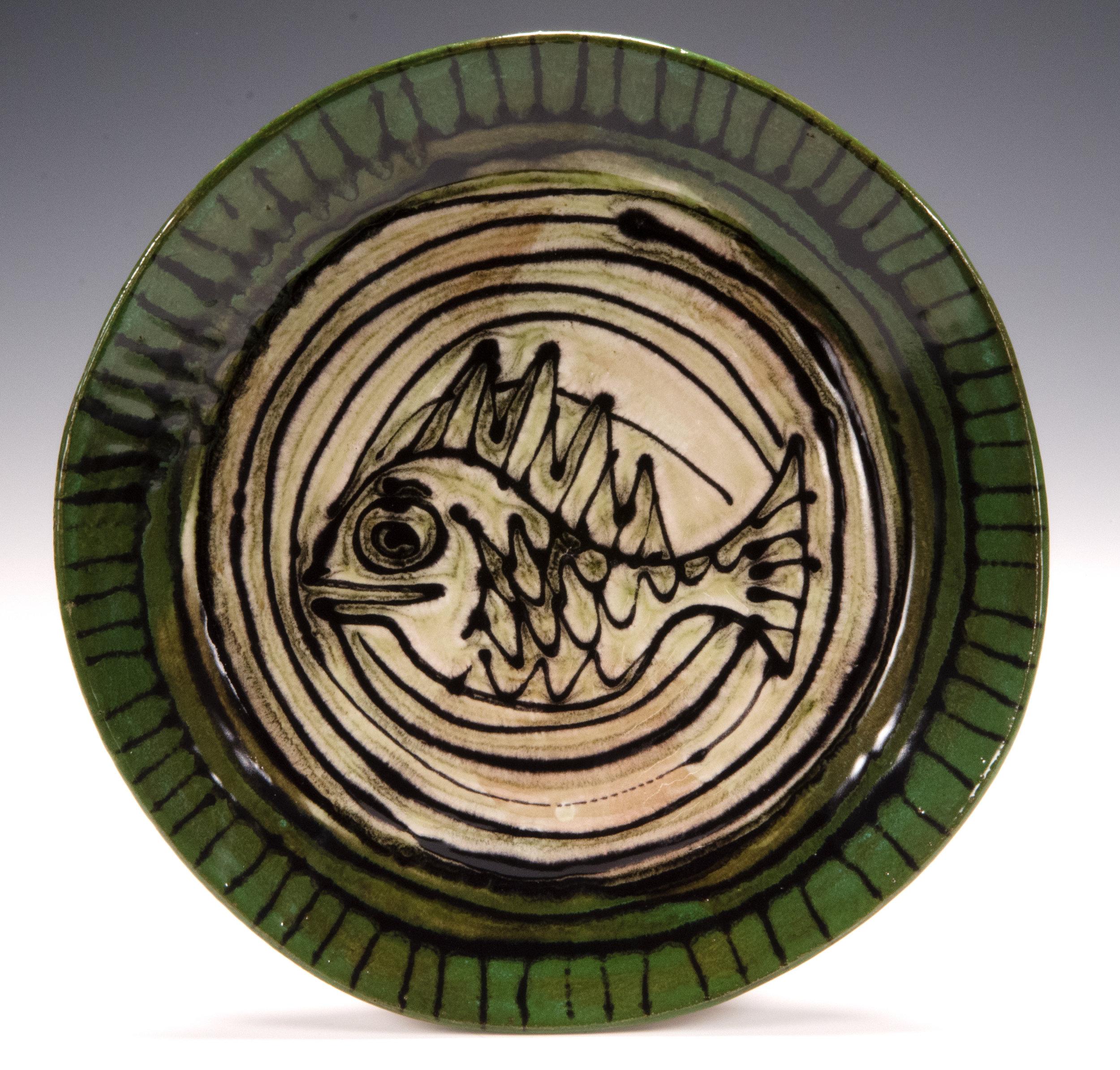 Dinner plate, 2016, slab made, stoneware, slip, stain, glaze 10.5 inches
