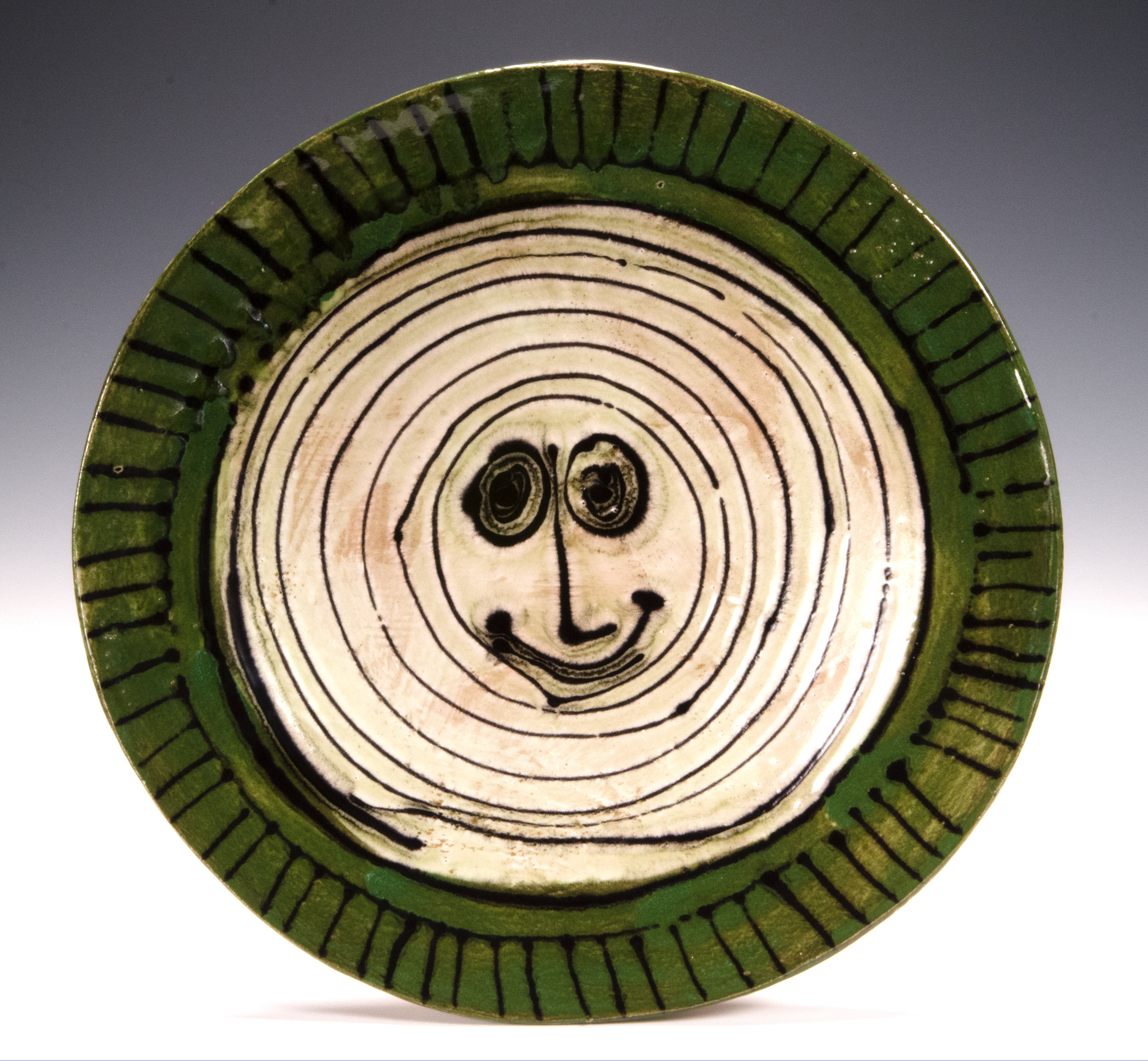Charger Aug 2016, slab made, stoneware, slip, glaze stain, 12.5 incehes