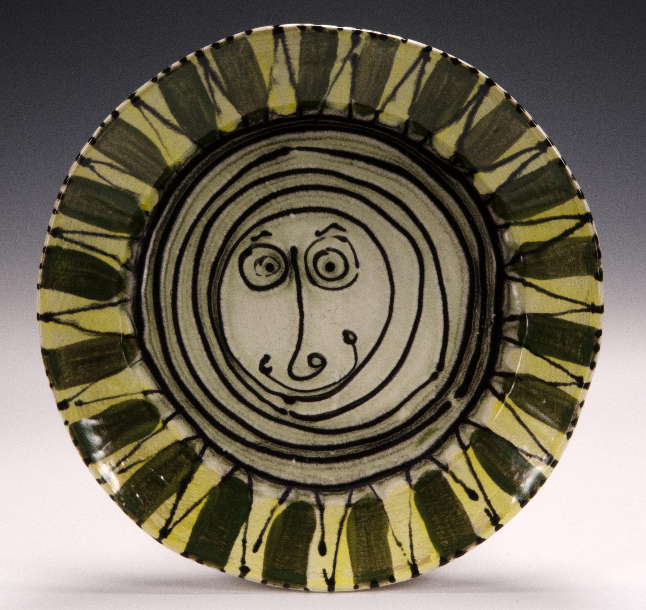 Dinner plate, 2016, slab made, stoneware, slip, stain, glaze, 10.5 inches