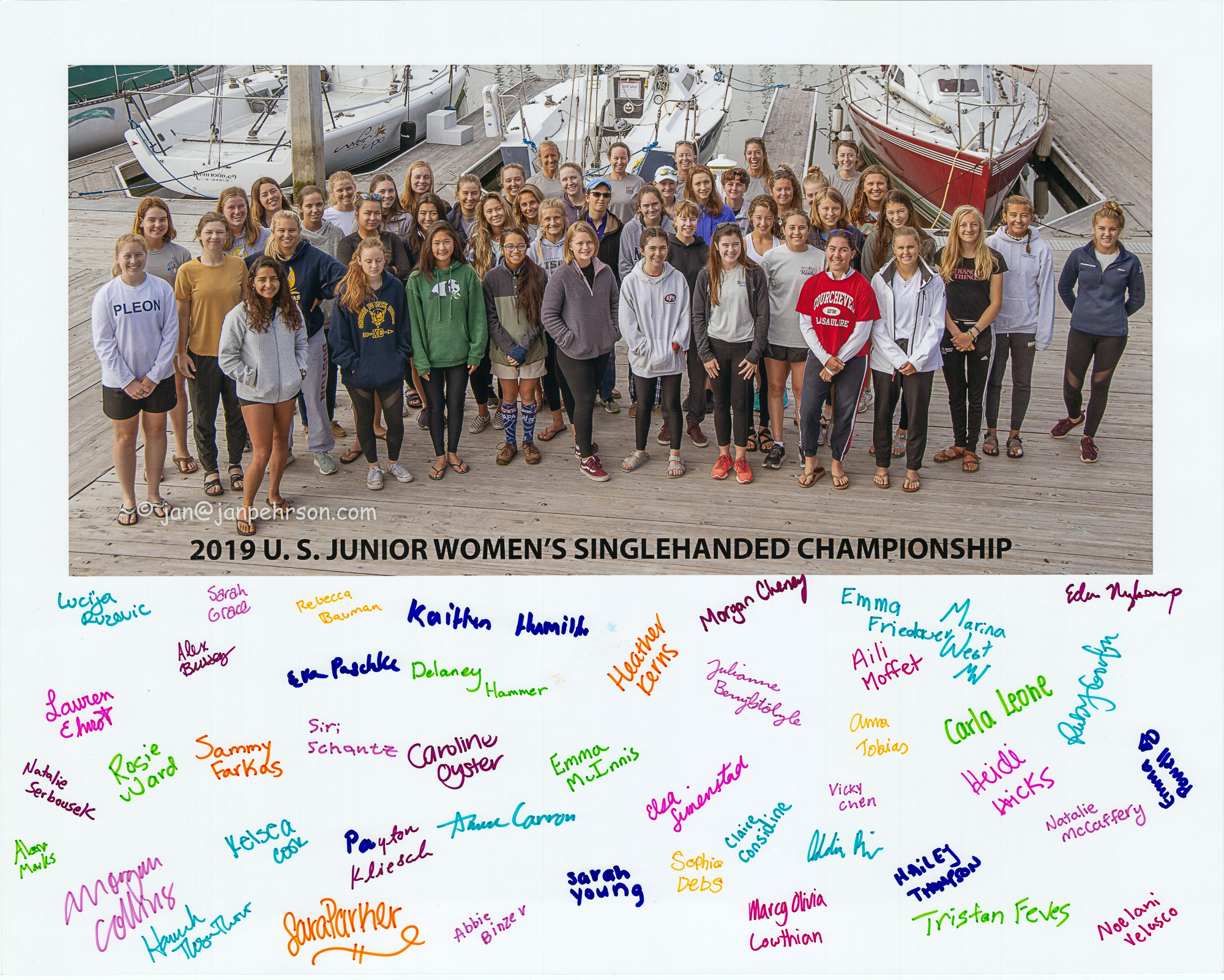 2019 U.S. JUNIOR WOMEN'S SINGLEHANDED CHAMPIONSHIP at the Richmond Yacht Club, July 2019 -- Group photo and signed poster
