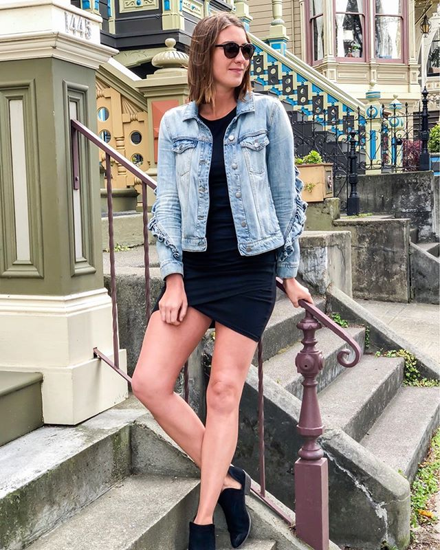 Can't go wrong with a LBD and a cute denim jacket! I love easy outfits like these on a Monday, especially after I may have hit the snooze button a few too many times 🤷‍♀️ http://liketk.it/2wcpJ #liketkit @liketoknow.it