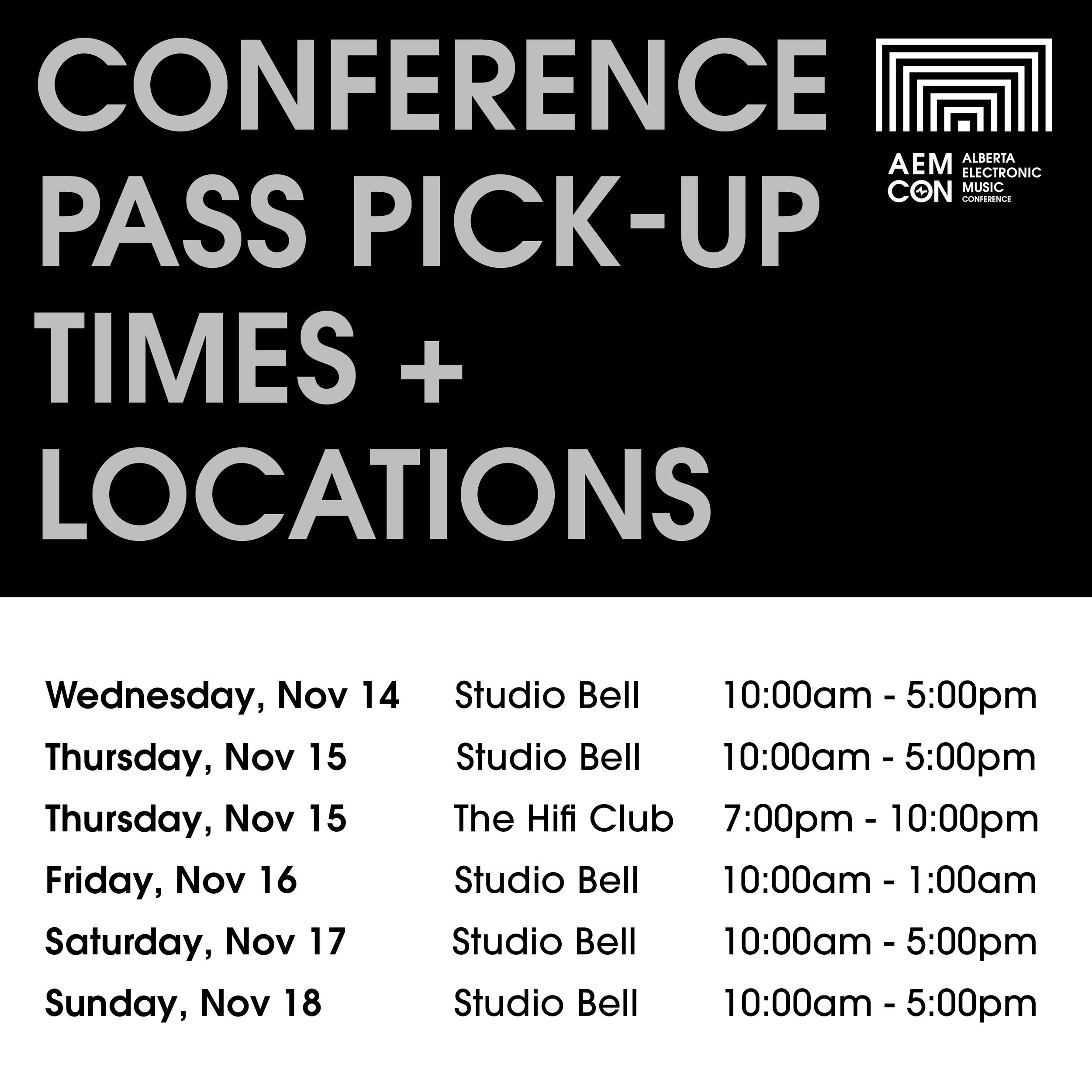 Conference Pass Pick-Up Times