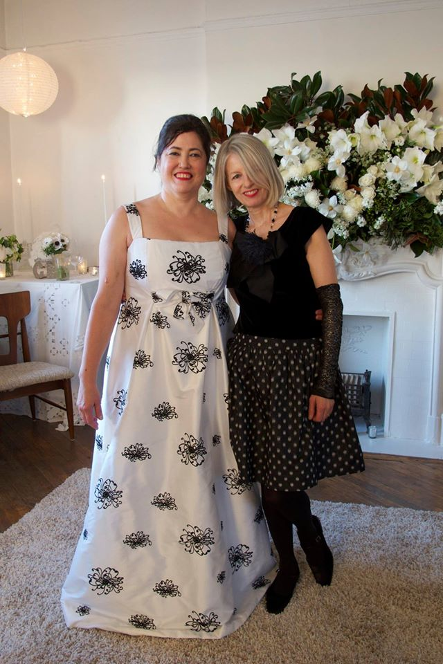 Catherine Lazure at her wedding with couturier Elizabeth Cannon