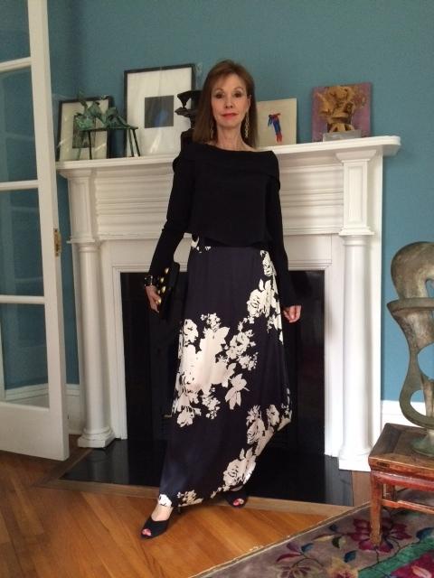 "Lucy Reitzfeld in silk ""Aubrey skirt and silk 4-ply and chiffon top"