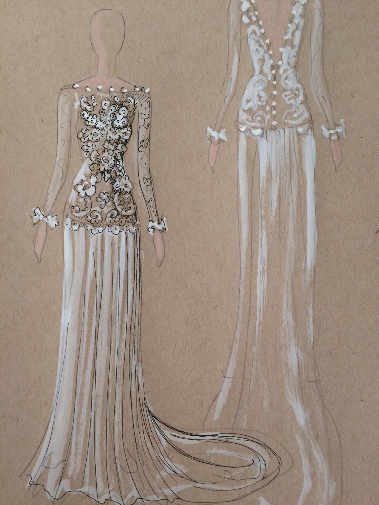 Alenćon Lace bodice with silk chiffon skirt and lightly beaded chiffon sleeves