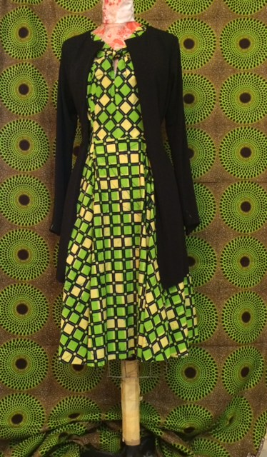 New Green op-art print / summer dress with ponté knit sweater