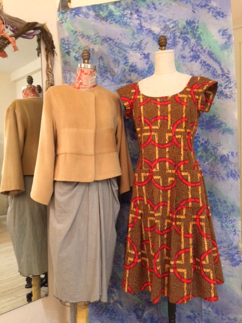 camel cashmire jacket and Dutch Wax African print dress