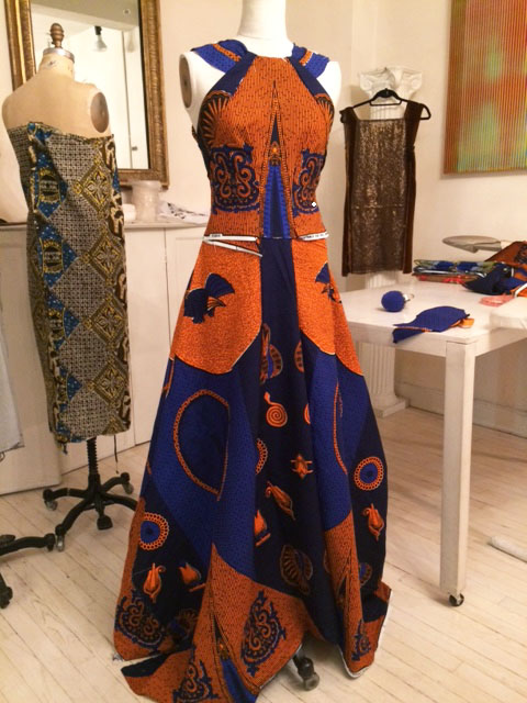 full length view of pinned dress in process