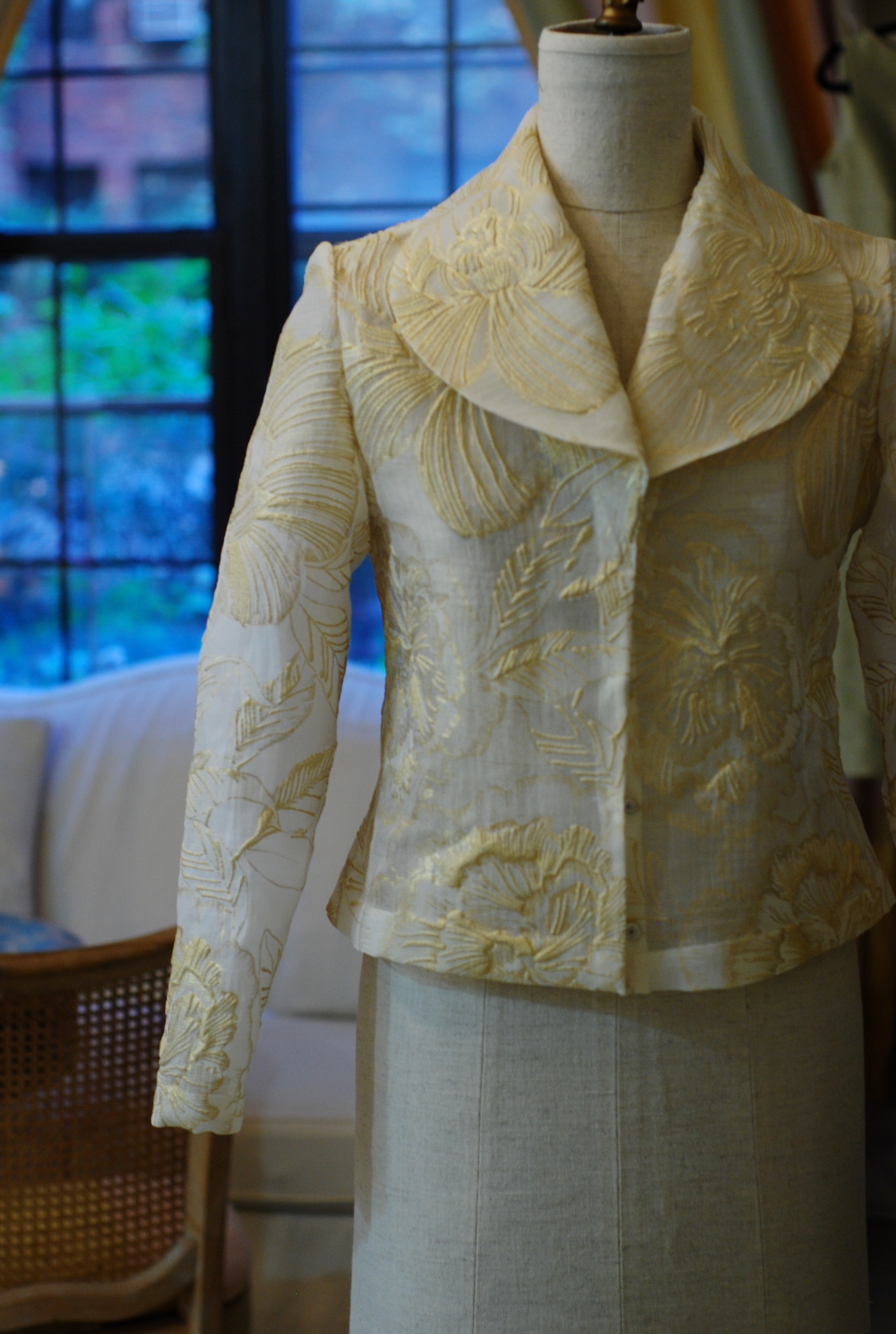 Gold Embossed Flower Organza jacket for client