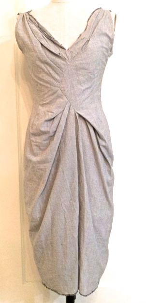 cotton mini-check draped dress