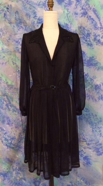 Black chiffon dress with beaded collar