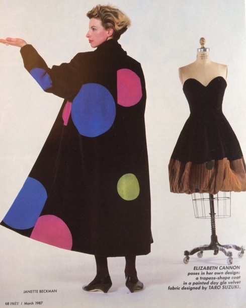 Cotton velvet coat with day-glo dots by Taro Suzuki and dress on form painted by Dike Blair- photo- Janette Beckman from Prêt Magazine