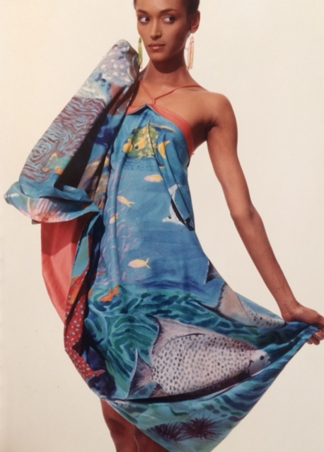 cotton fish dress painted by Eve Vaterlaus.                                                  photo- Warren Mantooth