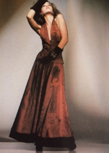 Silk Shantung halter dress with cotton underskirt and button corset belt painted by Tommy Trosch      photo- Warren Mantooth