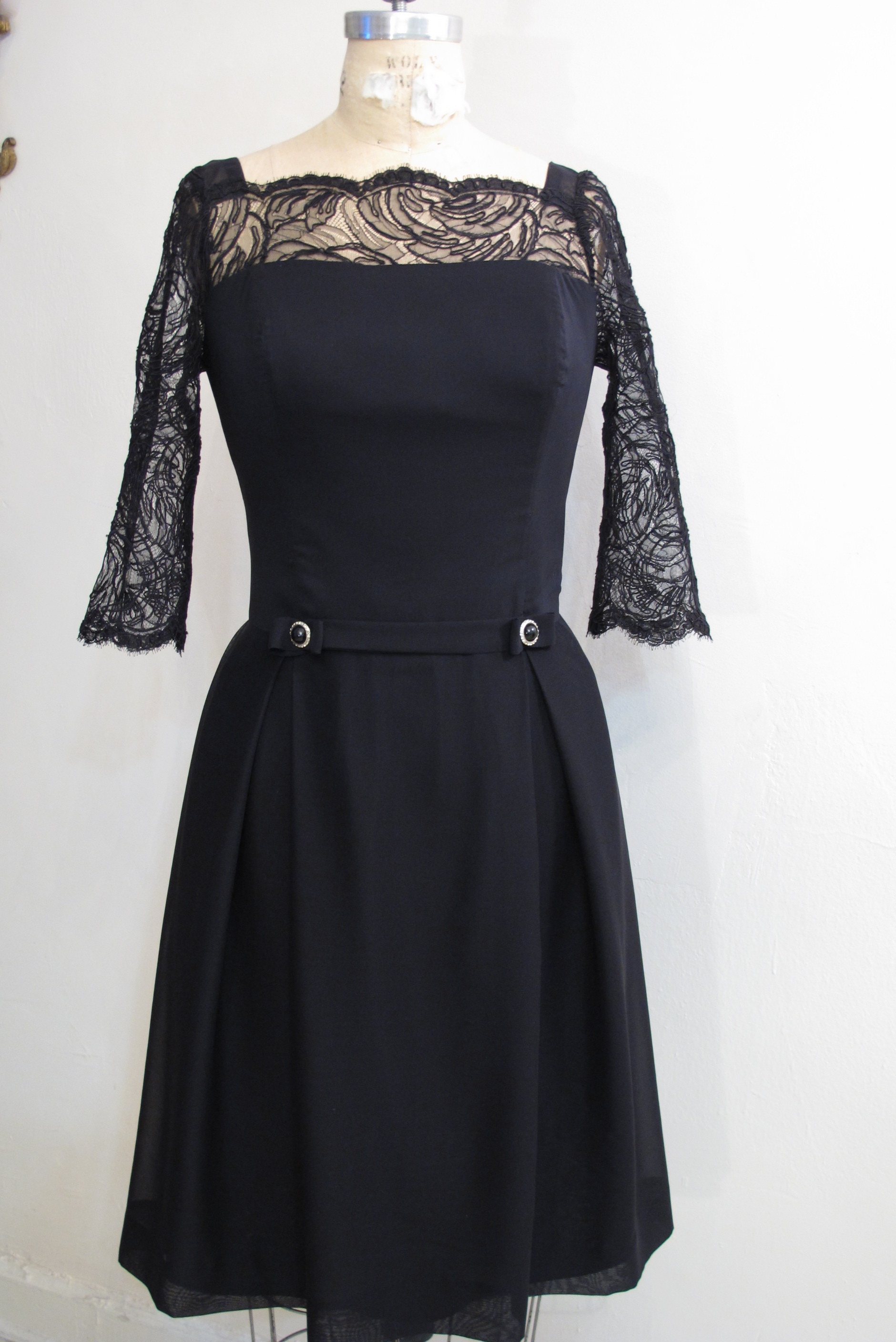 Silk Georgette w/ lycra dress with lace sleeves - for client