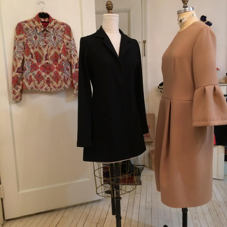 Liberty cotton blouse, Ponté knit jacket, camel wool crepe dress