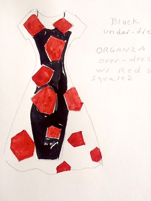 sketch for artist colab dress