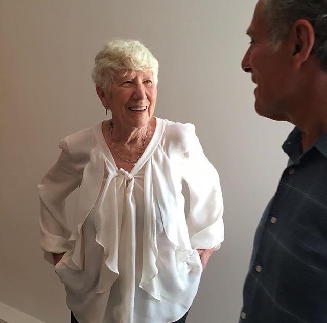 Mary Heilmann wearing Elizabeth Cannon blouse at her opening at the Dia Dan Flavin Art Institute in Bridgehampton  photo: Jill Levine