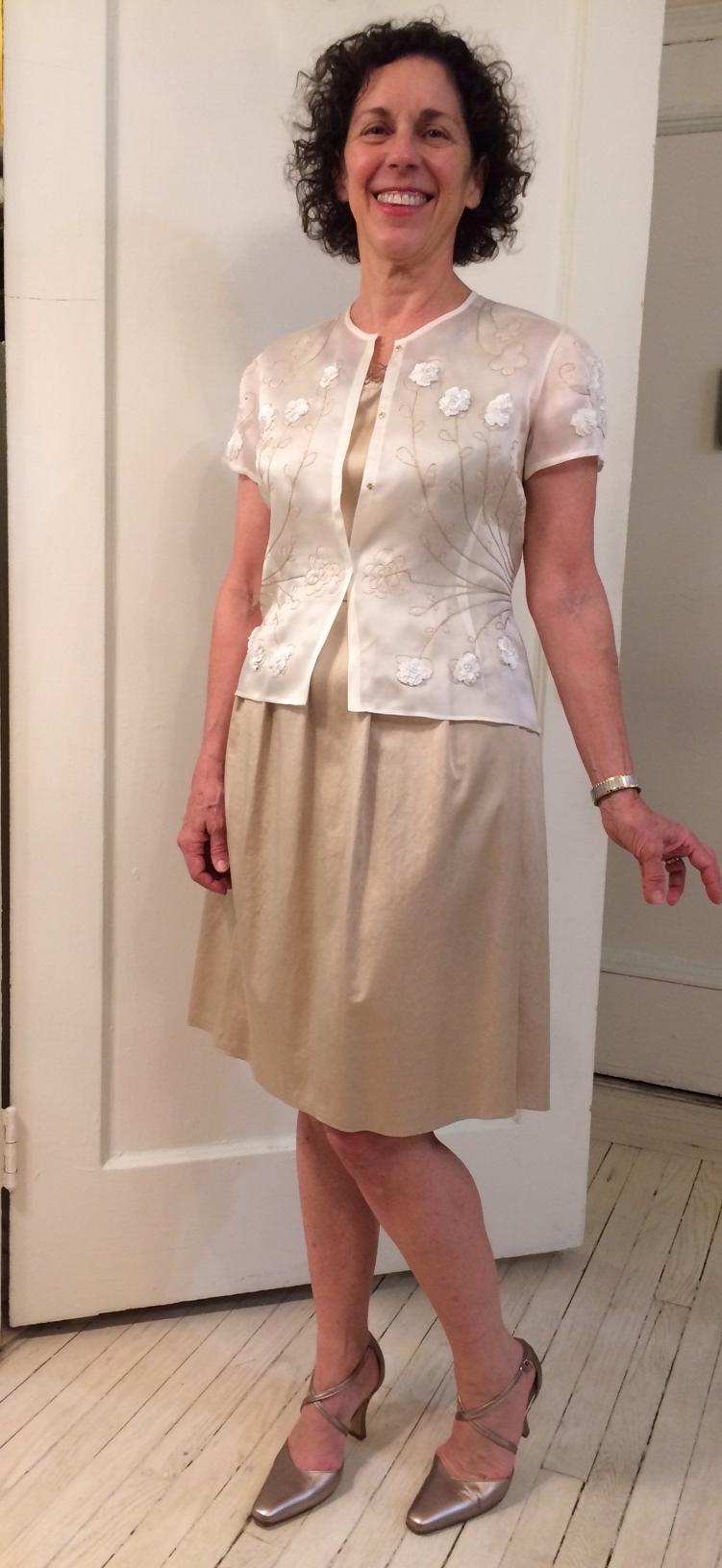 Silk organza custom embroidered jacket with silk / cotton dress