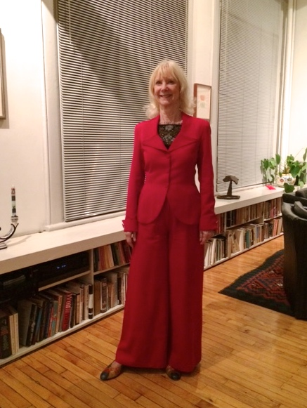 Barbara Haskell, my wonderful client, was recently profiled on NY1  speaking about her Grant Wood painting survey currently on view at the Whitney museum  she is wearing a custom red wool pants suit and black silk camisole with lace appliqué