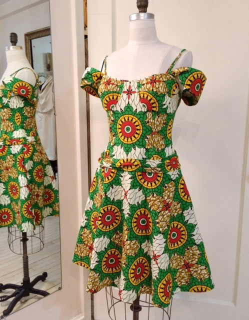 red, yellow and green wax-print dress