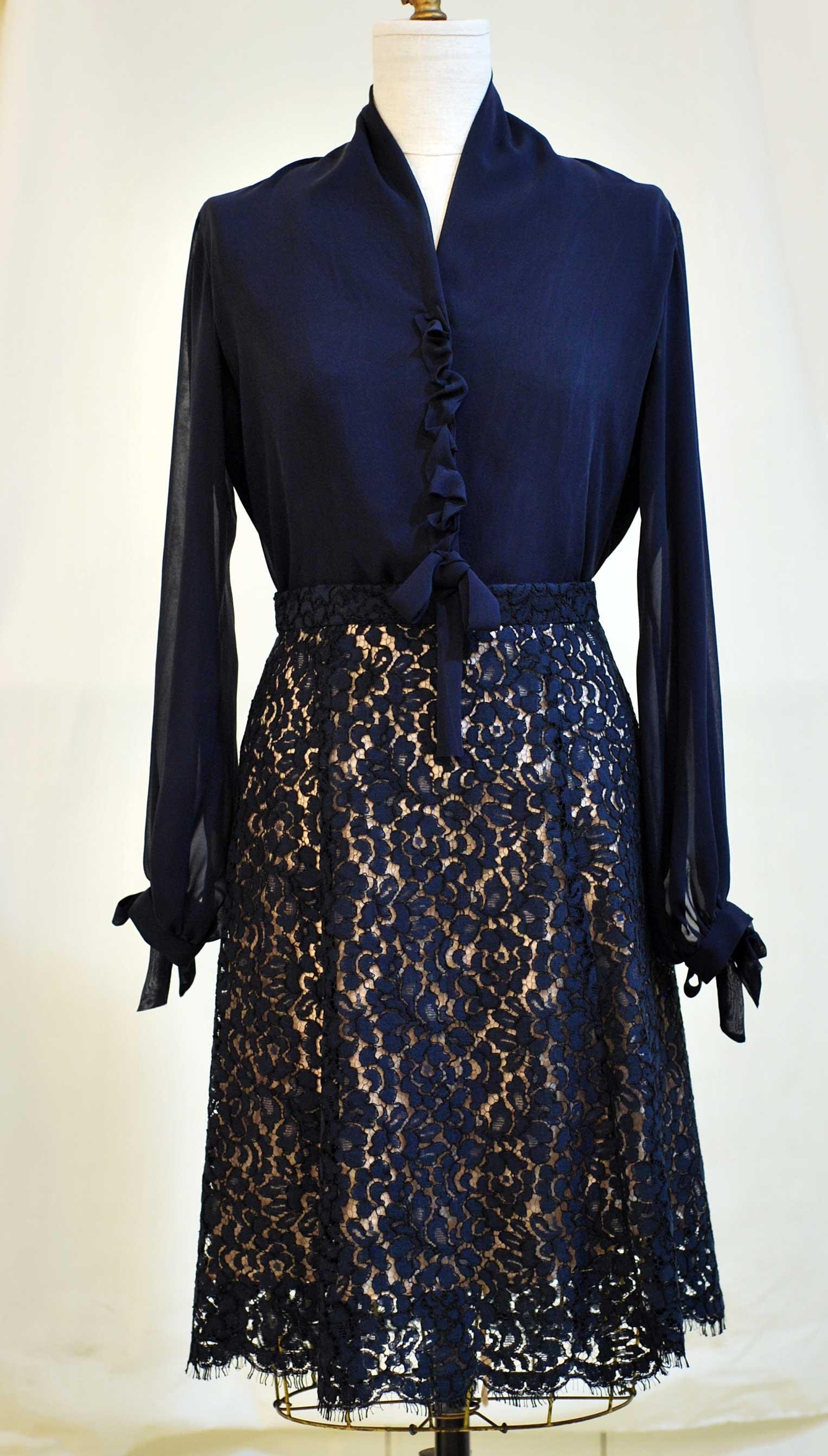 Navy silk chiffon blouse and Nave lace skirt