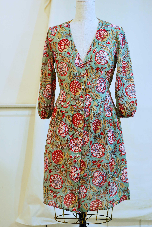Indian block print cotton wrap dress - SOLD-